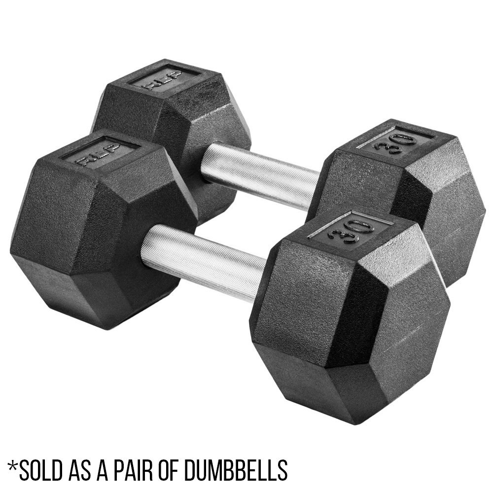 Rep Rubber Hex Dumbbells, with Low Odor and Fully Knurled Handle