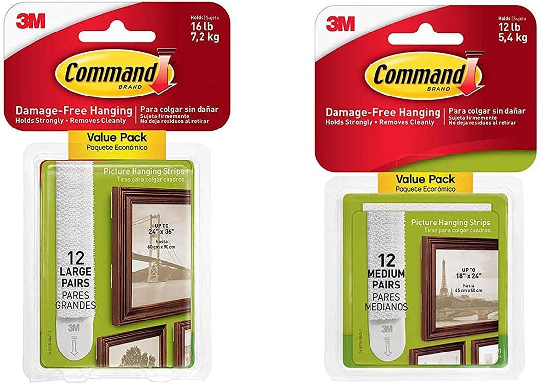 White Large 17206-12ES 12-Pairs - 2 Pack Command Picture /& Frame Hanging Strips Value Pack