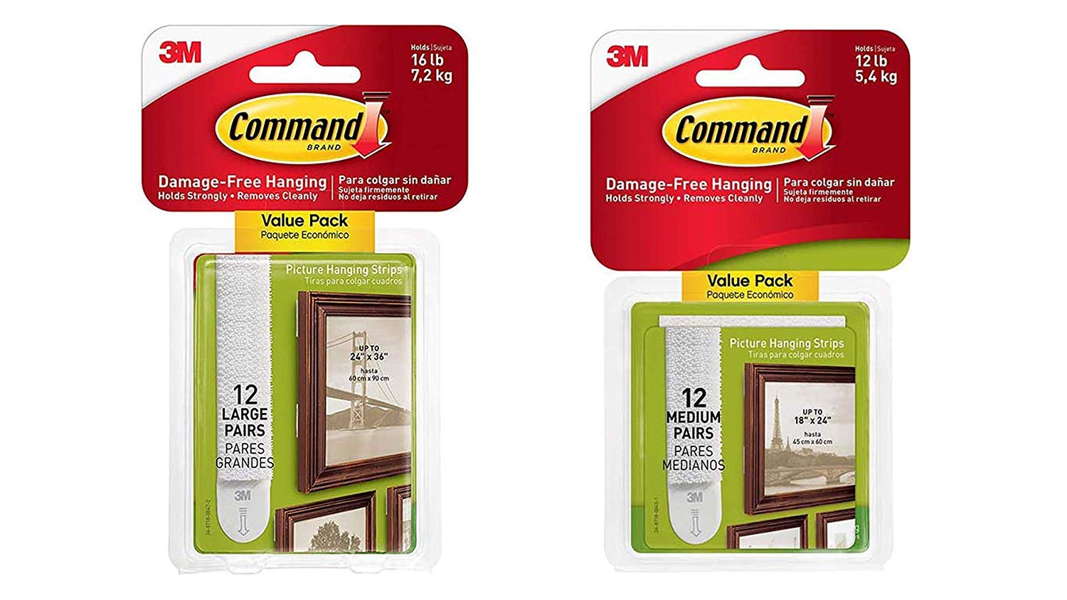 Command Picture WPQ1 & Frame Hanging Strips Value Pack 9JKCY9, 12-Pairs Medium and 12-Pairs Large, White by Command