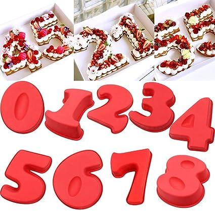 zmigrapdn Molde de silicona para tartas con número grande de silicona, moldes para tartas,