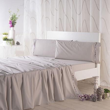 Sancarlos- Juego de sábanas bordadas DUNE, Algodón 100%, Color Gris, Cama de 135: Amazon.es: Hogar