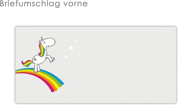 Farbenfrohe Natur Briefpapier Set Regenbogen am Himmel 100-teilig mit 50 Blatt Motivpapier DIN A4 und 50 passenden DIN LANG-Briefumschl/ägen