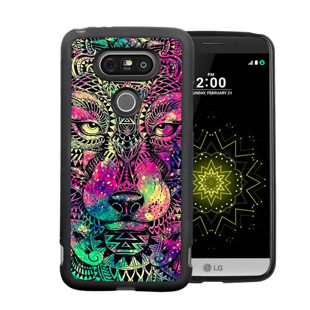 Obesty Galaxy and Wolf Phone Case for LG G5, Slim Soft TPU and Hard PC Tire Shockproof Protective Phone Cover Case for LG G5