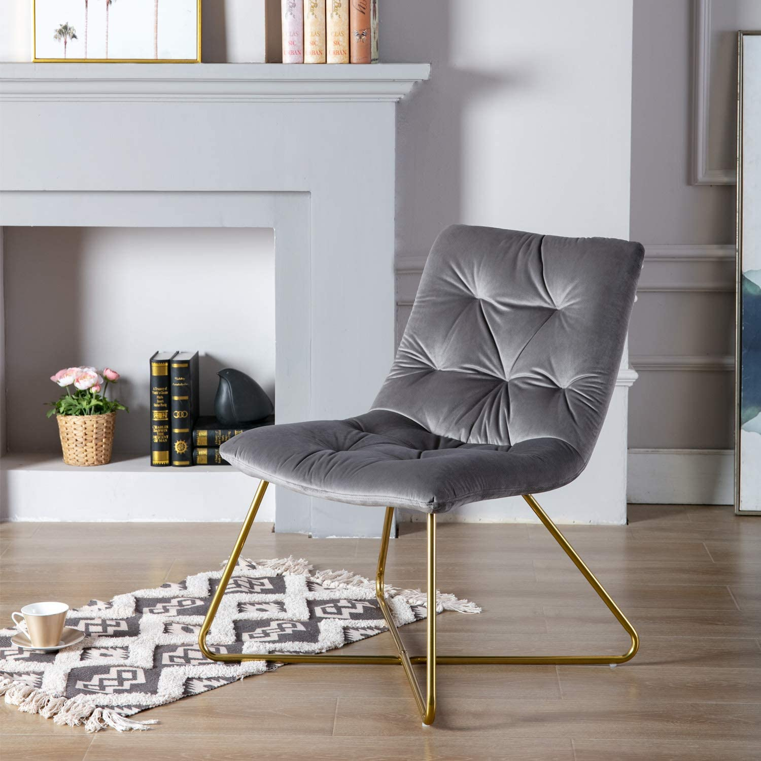 Guyou Modern Living Room Chair, Tufted Velvet Accent Lounge Chair, Comfy Armless Single Sofa with Gold Plating Legs for Bedroom/Vanity/Living Room(Grey) Grey