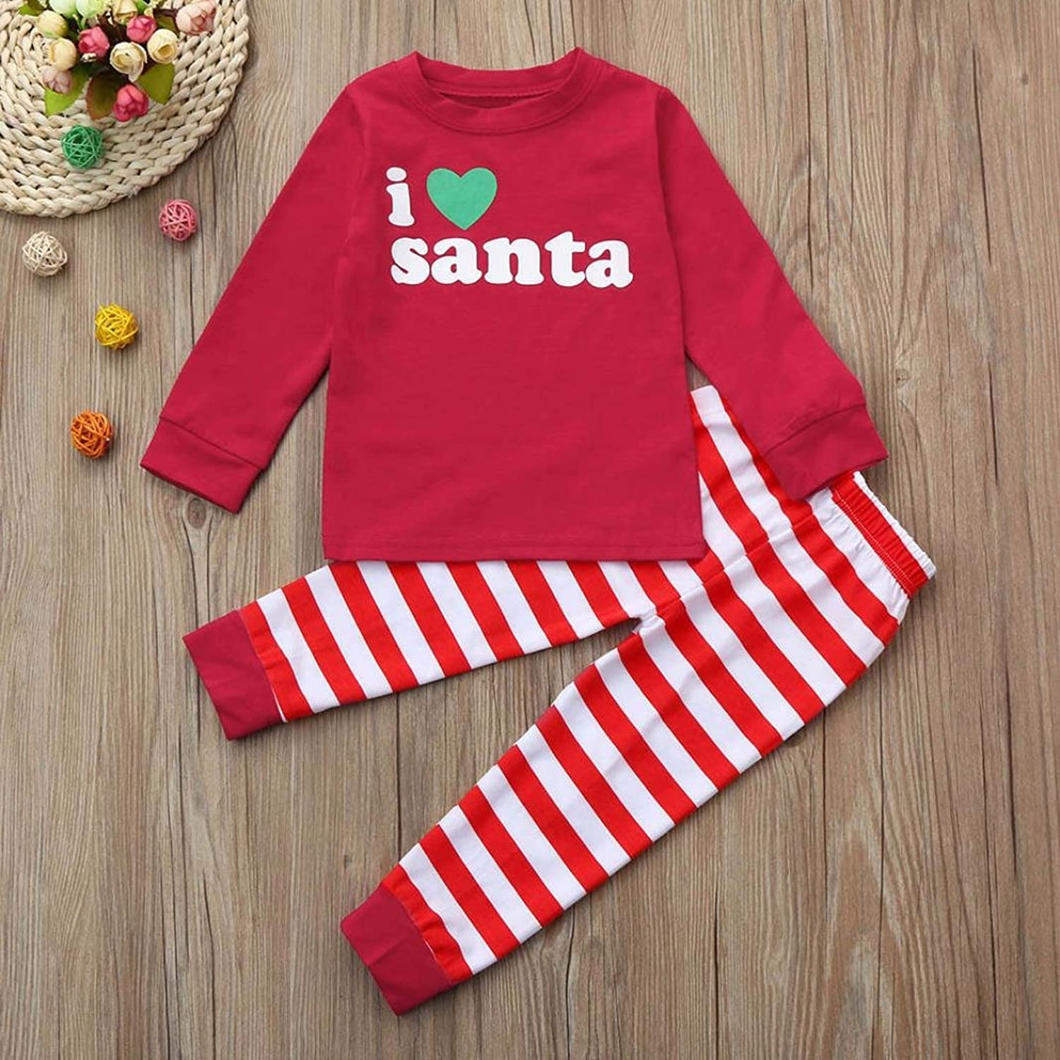 Amazon.com: Christmas Kids Toddler Baby Girl Boy Letter Top+Stripe Pants Outfit Clothes Set by CSSD: Clothing