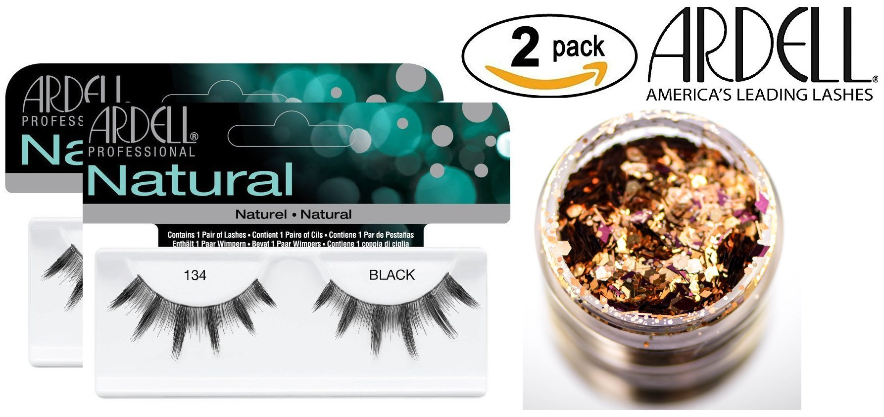 Ardell Professional NATURAL Lashes (2-PACK with bonus Skin/Hair Glitter) (134 Black (2-PACK))
