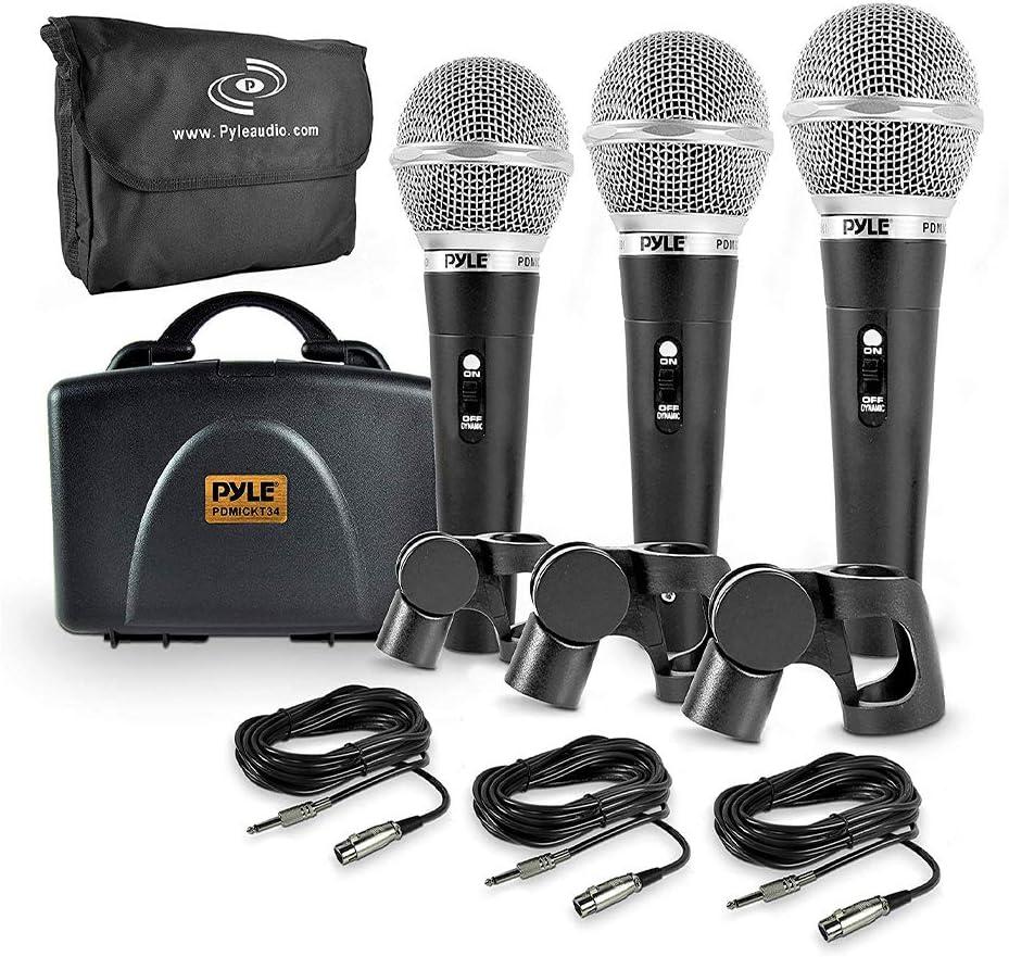 Kit de micrófono dinámico profesional Pyle de 3 piezas(GWEA)