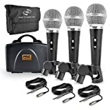 Pyle 3 Piece Professional Dynamic Microphone Kit Cardioid Unidirectional Vocal Handheld MIC with Hard Carry Case & Bag…