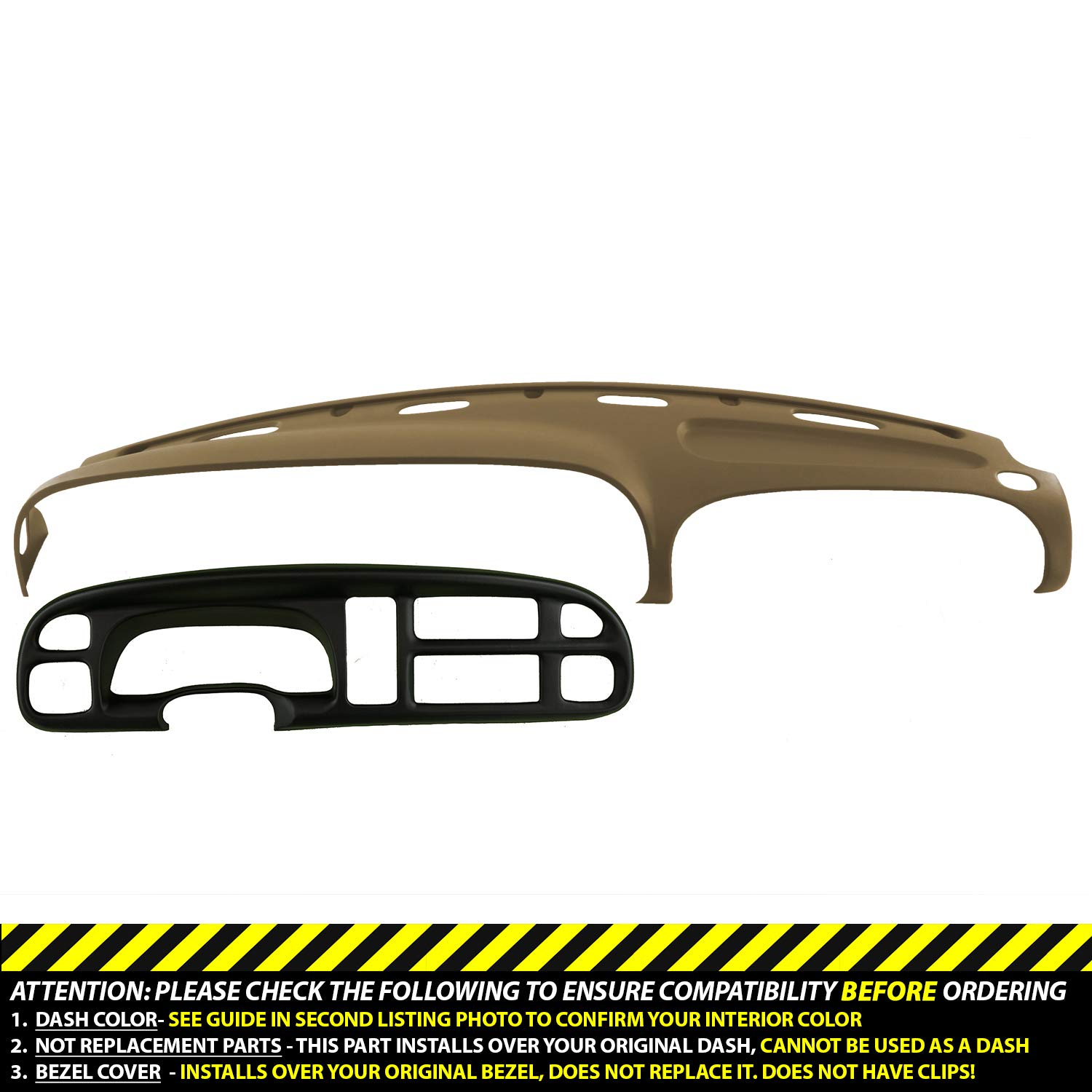 DashSkin Molded Dash & Bezel Cover Kit Compatible with 99-01 Dodge Ram in Camel Tan