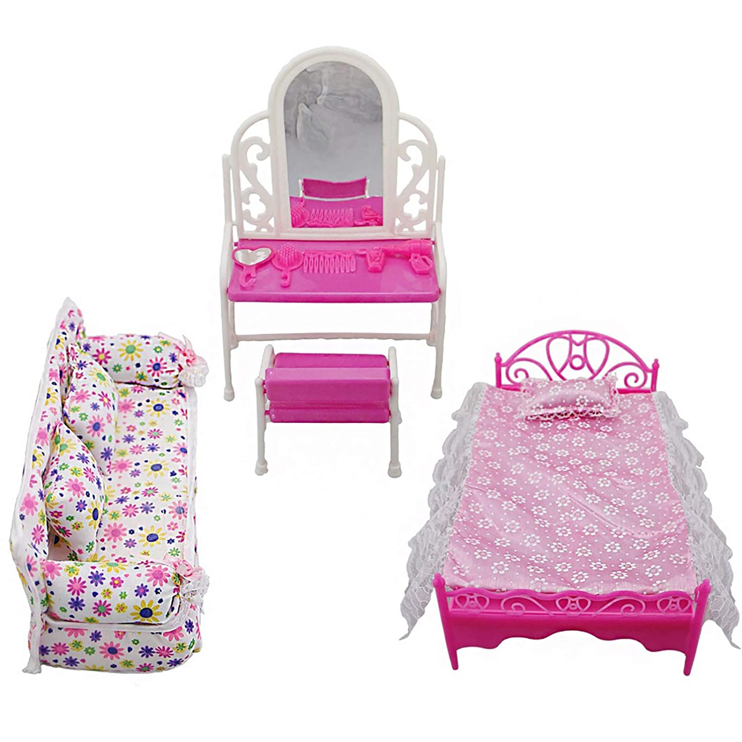 iFCOW Mini Princess Furniture Accessories Kids Gift 1xDresser Set + 1x Sofa Set+1xBed Set + 5X Hangers for Barbie Doll 8 Items/lot