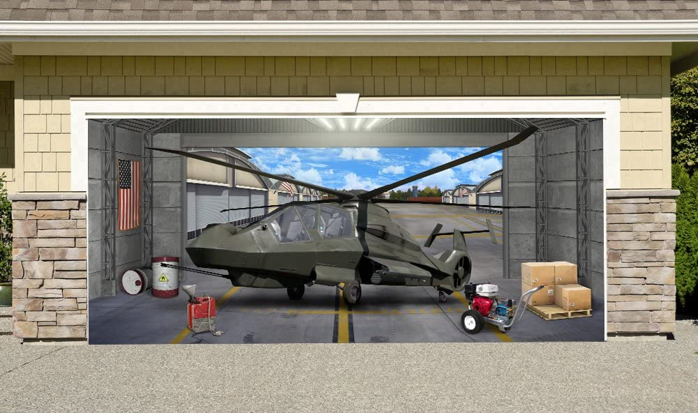 Creative Mind Designs Comanche Helicopter Outdoor Decoration Military Army Aircraft Independence Day Home Garage Door Decor Banner Billboard 7' x 16'