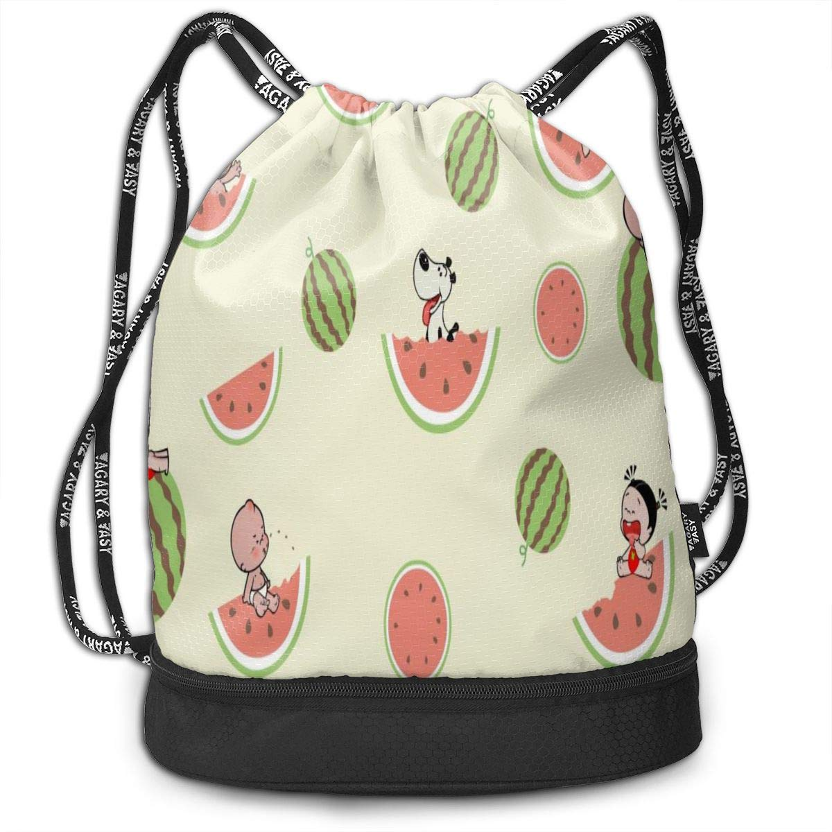 Watermelon Beam Mouth Drawstring Backpack Waterproof Shoulder Strap Leisure Backpack Portable Gym Bag