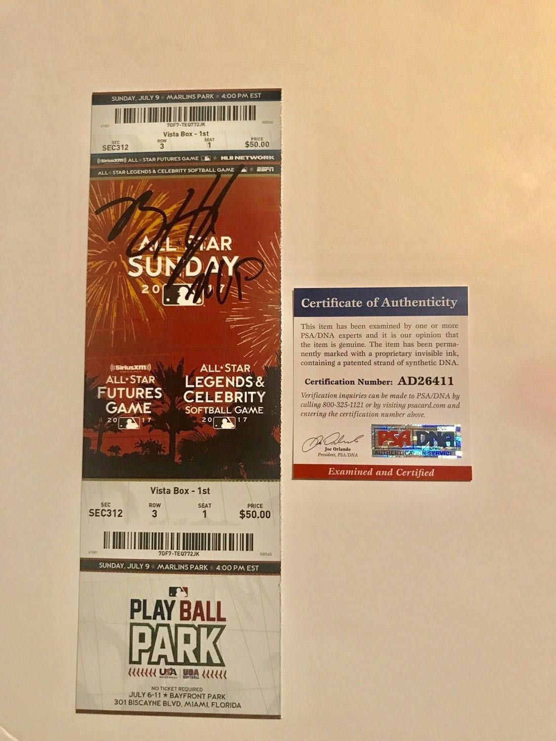 Brent Honeywell Autographed Signed Futures Game Ticket Mvp Tampa Bay Rays PSA/DNA Authentic Cert
