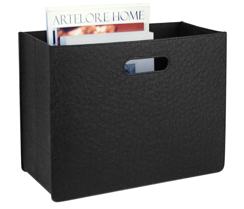Magazine Basket Holder Rack with Hole Handle, Foldable Newspaper Storage Bin Organizer, Black Magazine Basket and Storage Use for Reception Desk, Coffee Side Table, 15.8x7.3x11.8 inches