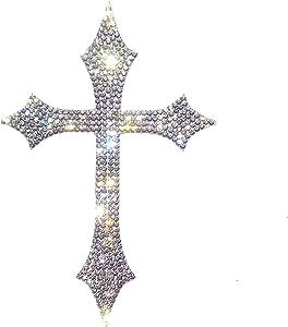Silver Bling Cross Car Decal, Waterproof Sparkling Rhinestone Christian Faith Religious Sticker 5'' Height