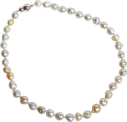 Chiara - Collar de 39 perlas naturales australianas esféricas con cierre OG18K