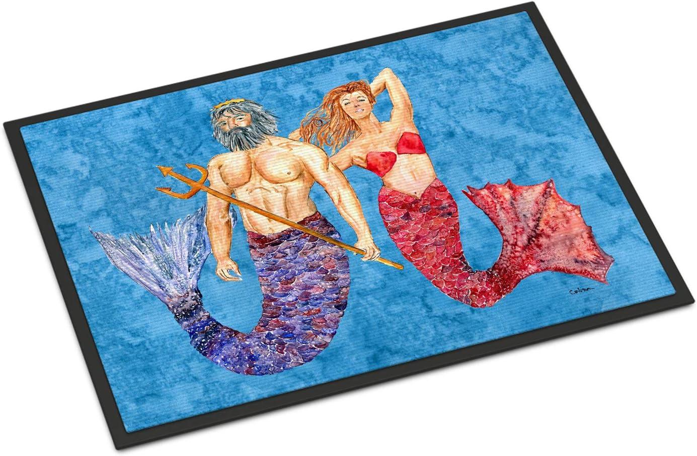 Caroline s Treasures 8801JMAT Mermaid and Merman Indoor or Outdoor Mat 24×36, 24H X 36W, Multicolor