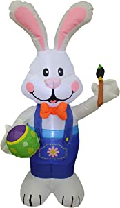 BZB Goods 4 Foot Party Inflatable Bunny Holding Paintbrush Lighted Outdoor Indoor Holiday Decorations Blow up Yard Lawn Inflatables Home Family Outside Decor