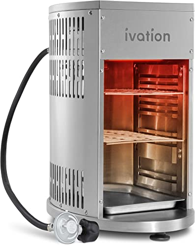 Ivation Infrared Propane Broiler Tabletop Gas Grill 1500 F Auto Ignition Heat Control Sear Cook Steak in Seconds Stainless Steel Removable Parts for Easy Clean Includes Hose Regulator Cover