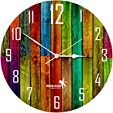 Hoopoe Decor MDF Colorful Wooden Plank Trendy Wall Clock (28 cm x 0.8 cm x 28 cm),Multicolor