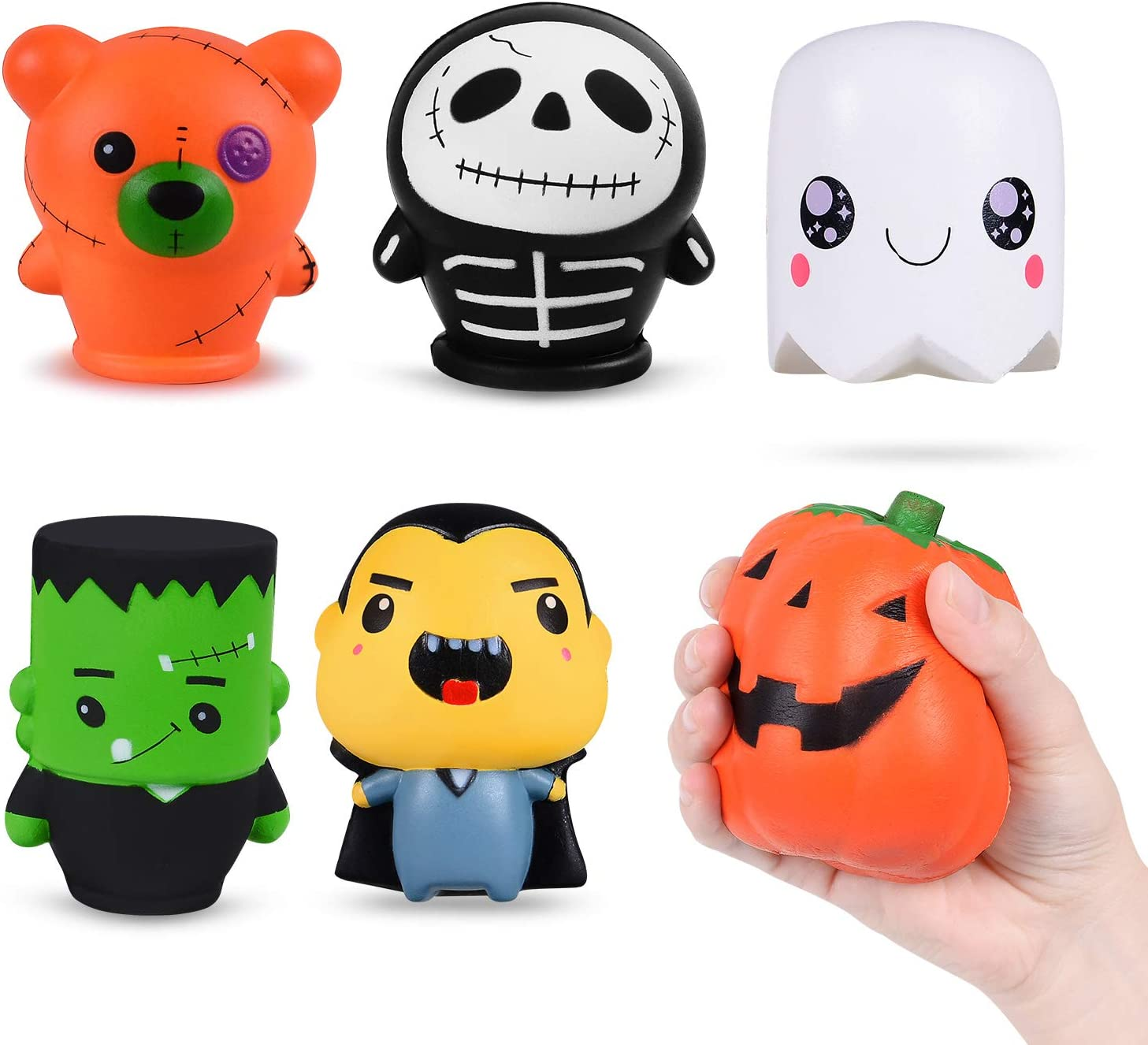 HITOP Halloween Squishy Toys Gifts for Kids Adults Slow Rising Toys for Stress Relief Sensory Games Party Favor Decoration-6 Pack
