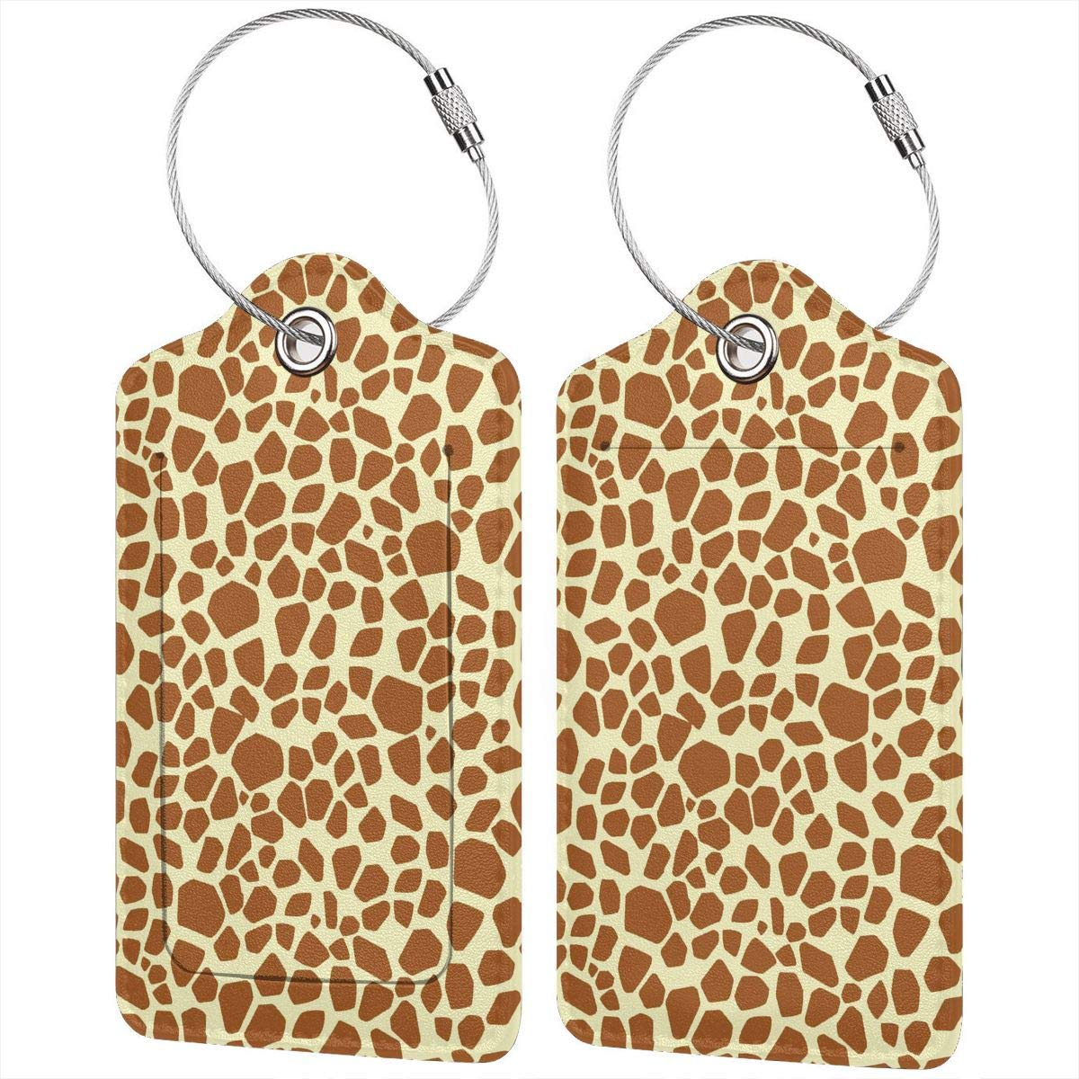 Giraffe Skin Leather Luggage Tags Personalized Privacy Cover With Privacy Flap