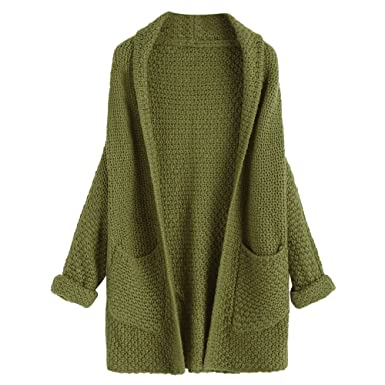 37d7d5ba111 DEZZAL Women s Casual Open Front Curled Sleeve Batwing Chunky Knit Cardigan  (Army Green)