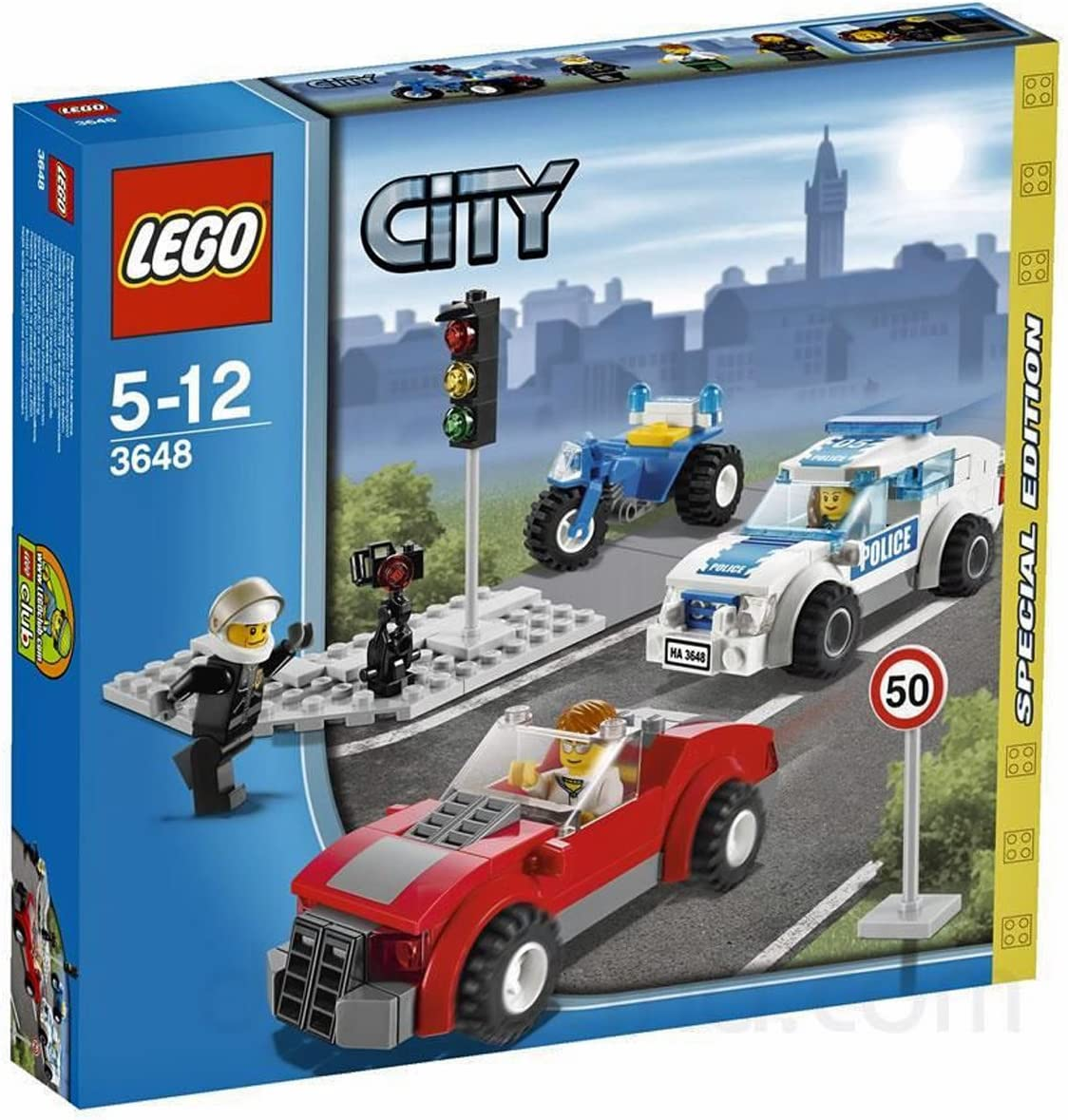 LEGO 3648 Police Chase Special Edition 2011 City Series 173pc Set (Includes 3 Minifigures)