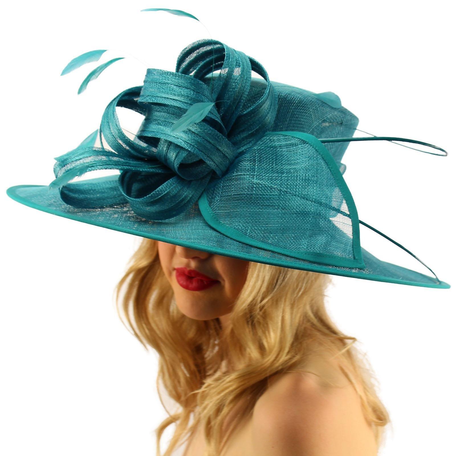 SK Hat shop British Regal Sinamy Ribbon Feathers Quill Derby Floppy Bucket Dressy Hat Teal