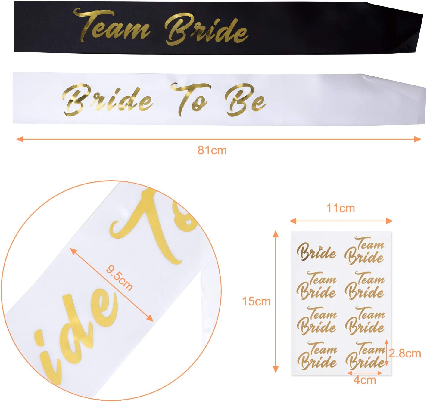 Naler 11 Black Team Bride Sashes with 1 White Bride to Be Sash and 2 Sheet Team Bride Tattoos for Wedding Hen Party and Bridal Shower Party Decorations Favor
