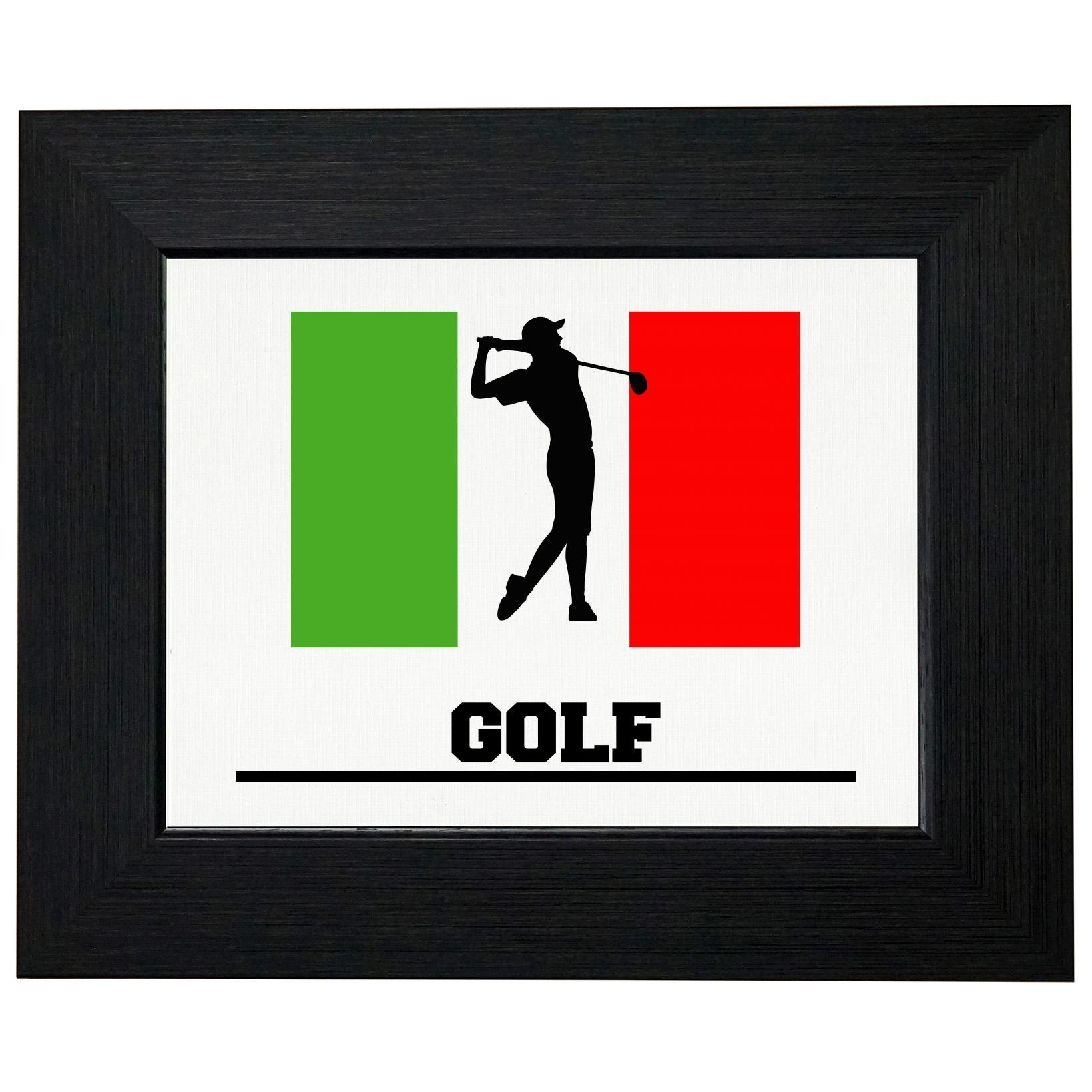 Italy Olympic - Golf - Flag - Silhouette Framed Print Poster Wall or Desk Mount Options