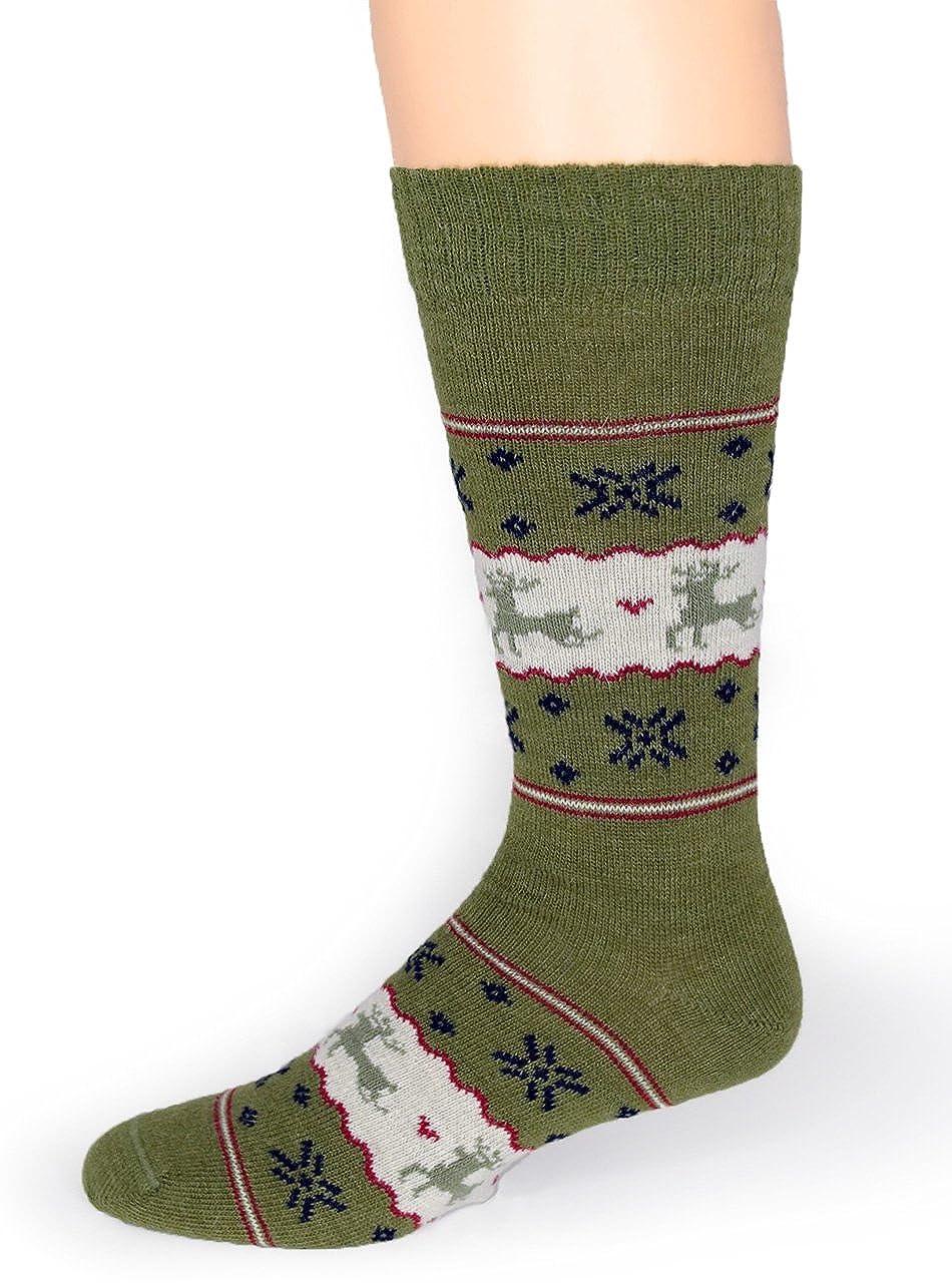 bcb457c9fb155 Warrior Alpaca Socks - Fun Reindeer - Fair Isle Alpaca Wool Socks - Warm,  Winter, Novelty, Holiday Sox - Unisex (Large, Green/Navy/Red) at Amazon  Men's ...