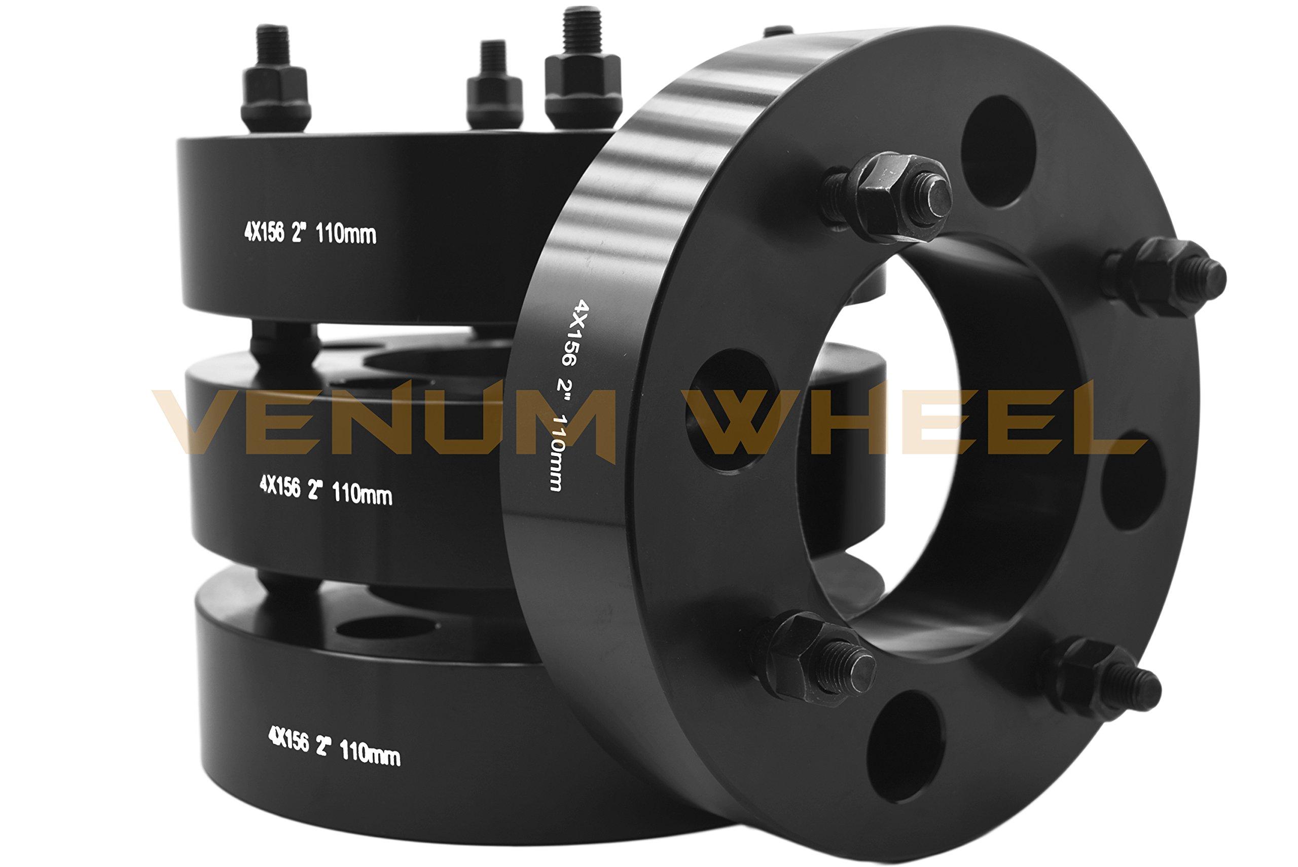 4 Pc 4x156mm Polaris RZR 900 1000 Xp Turbo Black 2'' Thick Wheel Spacers Adapters Bolt On Kit 12x1.5 Lug Nuts