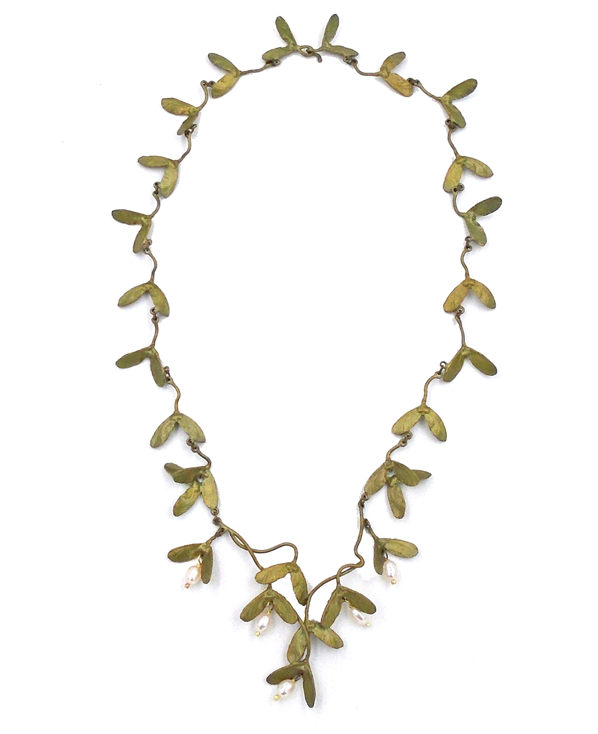 OURS EXCLUSIVELY JAPENESE MAPLE LEAF & PEARL NECKLACE/PENDANT BY MICHAEL MICHAUD FOR SILVER SEA