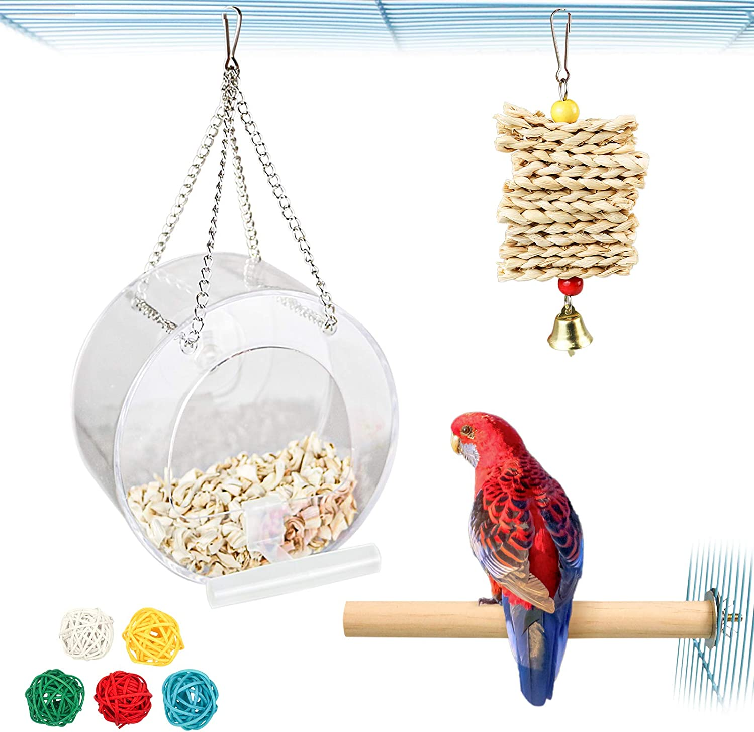 4 Pieces Acrylic Round Hanging Bird Feeder with Chain,Parrot Perch,Parrot Chew Toys,5 Colorful Vine Balls for Small or Medium Parakeet,Lovebird,Canaries,Conure,Budgie (Style-1)