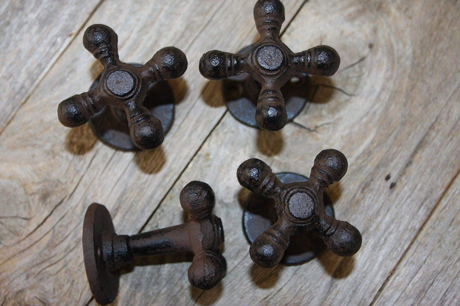 Southern Metal Farmhouse Kitchen Cabinet Knobs Pulls Cast Iron Faucet Handle (4 Pieces) H-89