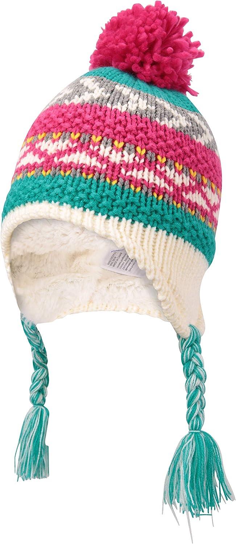 Mountain Warehouse Patterned Stripe Knit Kids Hat Winter Beanie Teal