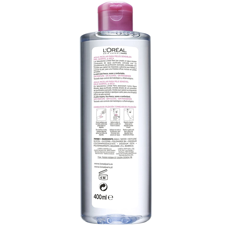 LOreal Paris Dermo Expertise Agua Micelar para Pieles Sensibles, Normales a Secas de LOréal Paris - 1 Unidad: Amazon.es: Amazon Pantry