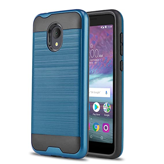Phone Case for [ALCATEL TCL LX (A502DL)], [Protech Series][Blue] Shockproof  Cover [Impact Resistant][Defender] for Alcatel TCL LX (Tracfone, Simple