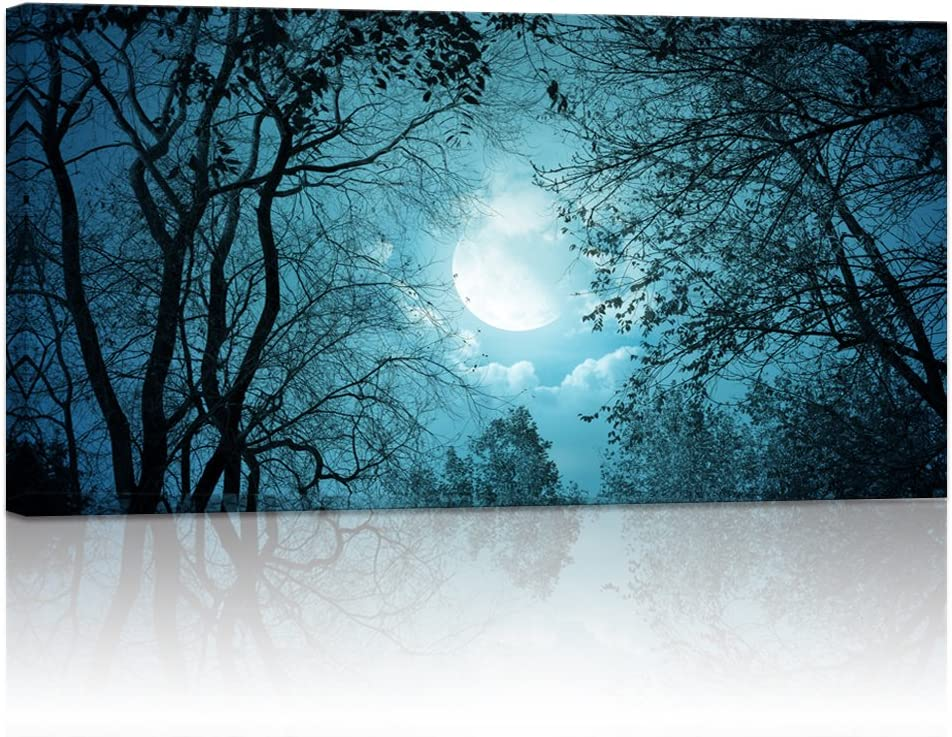 Visual Art Decor,Modern Wall Art,Blue Full Moon Forest Picture Printed on Canvas,Landscape Painting Prints, Peace Autumn Forest Night Scenery Wall Artwork (Framed, Blue)