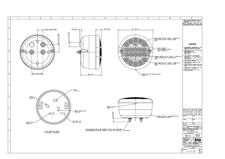 Britax Round LED 140mm Hamburger Light Lamp STI Truck Trailer Lorry L14.10.L12V