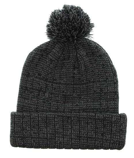 Milani Winter Stripe Thick Pom Beanie with Cuff Skull Cap Hat black B0033 bk 22fd651baea0