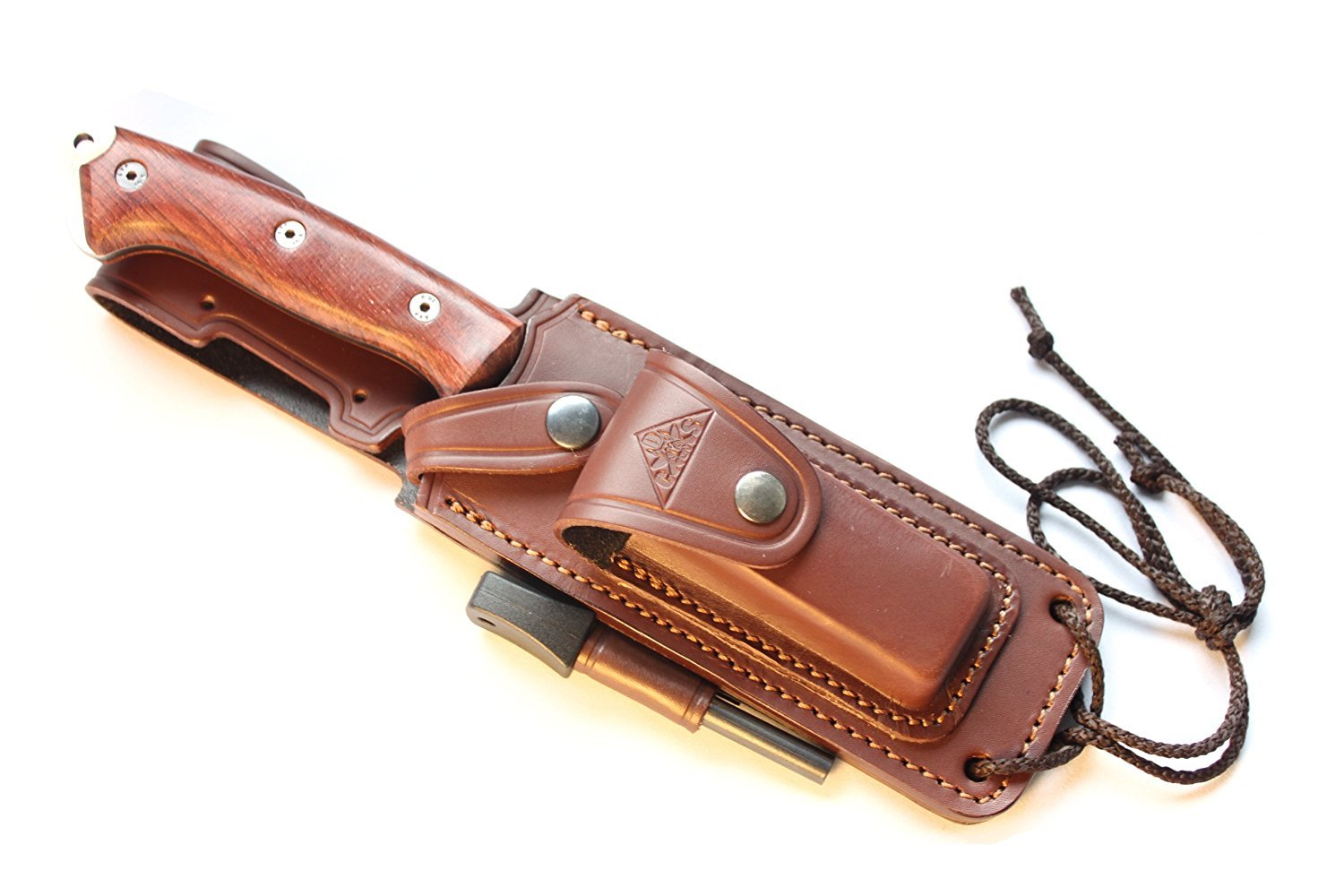 CELTIBEROCOCO - Outdoor / Survival / Hunting / Tactical Knife - Cocobolo Wood Handle, Stainless Steel MOVA-58 with Genuine Leather Multi-positioned Sheath + Sharpener Stone + Firesteel by CDS-Survival