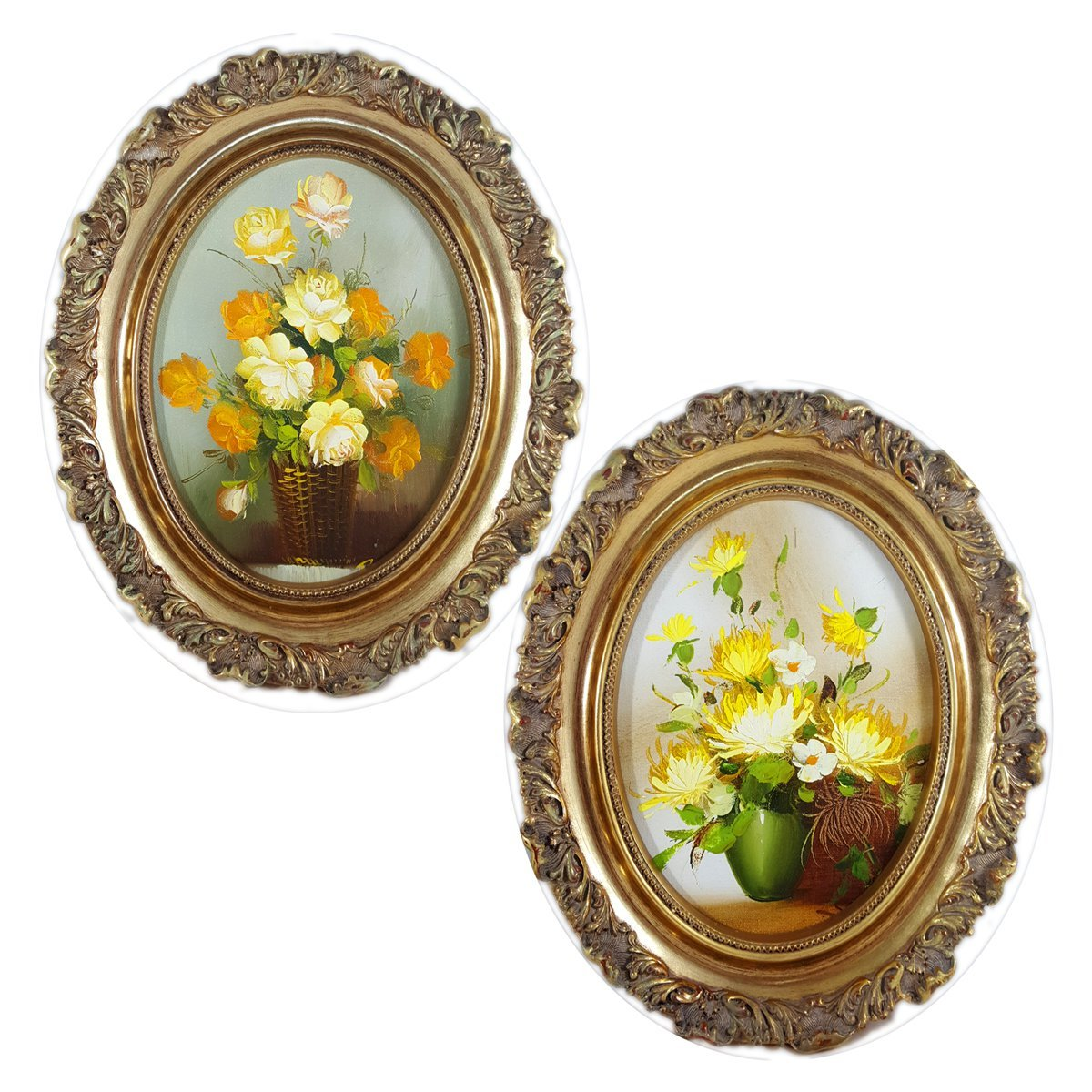 Amazon Artistic Interiors Oil Paintings Yellow Flowers Oval