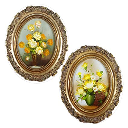 Artistic Interiors Oil Paintings Yellow Flowers Oval Frame Set Of 2