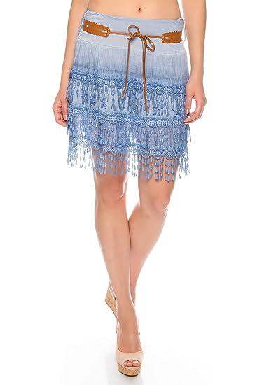 Falda de Mujer de Viscosa, Minifalda de algodón, Falda de frantes ...
