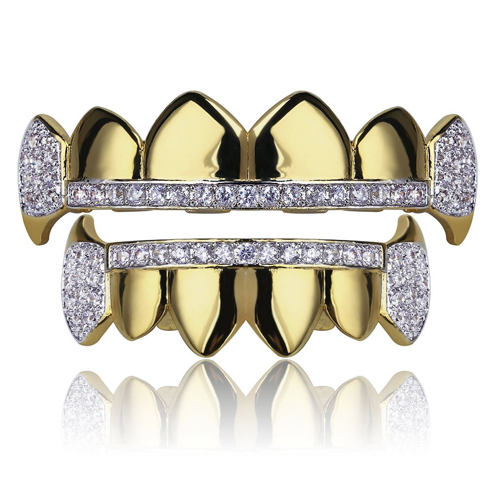 SHINY.U Gold Hip Hop Teeth Grillz Micro Pave Cubic Zircon Top&Bottom Vampire Fangs Teeth Grills Set Holleween Gift Men Women (Yellow Gold)