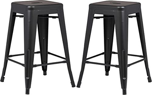 Poly and Bark Trattoria 24 Inch Counter Height Industrial Metal Bar Stool
