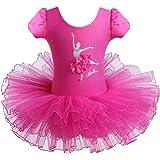 BAOHULU Leotard Girls Ballet Dance Short Sleeve Full TulleTutu Skirted Dress Ballerina Costumes