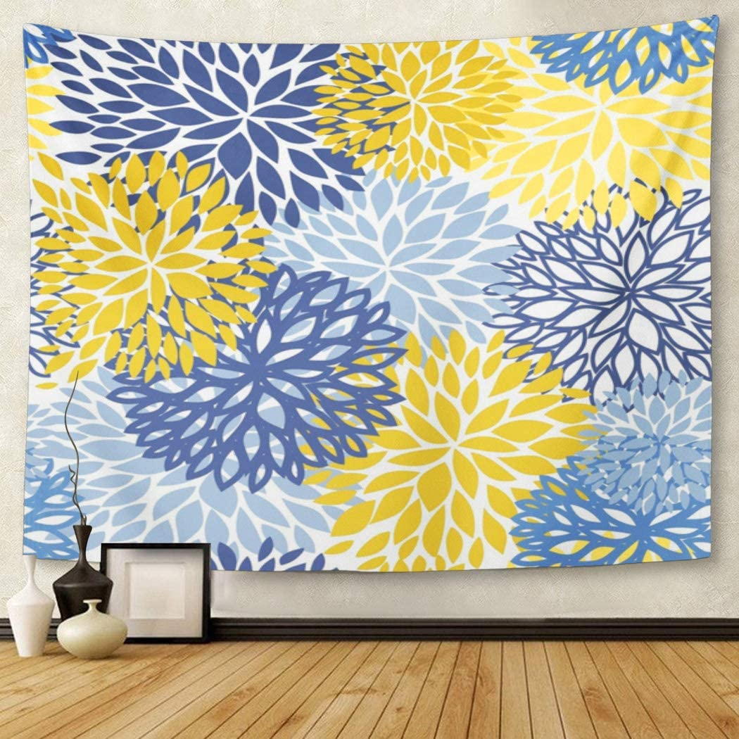 Amazon Com Tompop Tapestry Green Spring Flower Blue Yellow And Navy Chrysanthemum Brown Home Decor Wall Hanging For Living Room Bedroom Dorm 50x60 Inches Home Kitchen